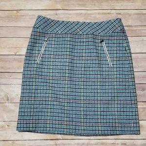 Talbots Patterned Tweed Mini Skirt